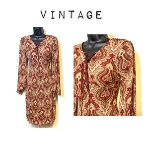 Vintage paisley midi dress with leather lace up
